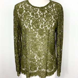 {J Crew} Moss Green Lace Keyhole Button Back Top
